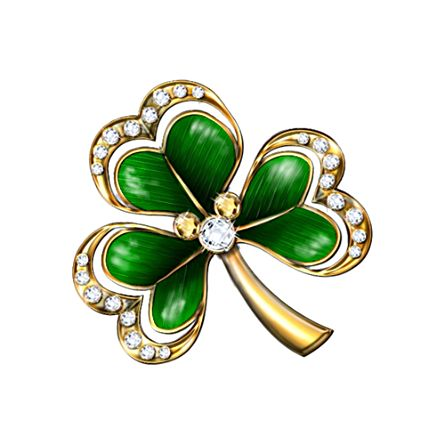 Royal Shamrock Brooch 18K Gold-Plated