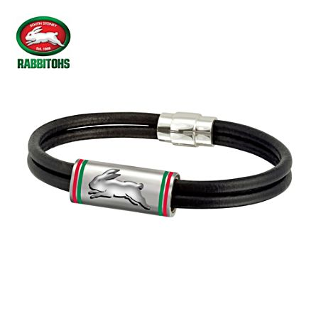 NRL South Sydney Rabbitohs Men's Leather Wristband