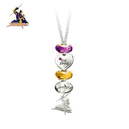 NRL Melbourne Storm Women's Pendant Necklace With Swarovski Crystal