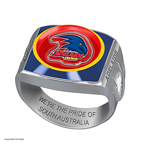 AFL Adelaide Crows Team Ring With Vibrant Team Logos and Sculpted AFL Motifs