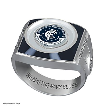 AFL Carlton Blues Team Ring With Vibrant Team Logos and Sculpted AFL Motifs