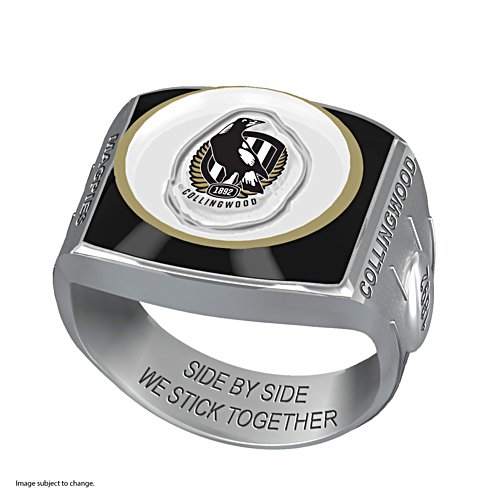 AFL Collingwood Magpies Team Ring With Vibrant Team Logos and Sculpted AFL Motifs