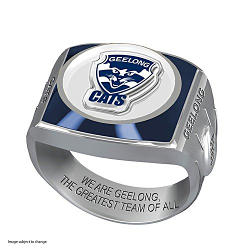 AFL Geelong Cats Team Ring With Vibrant Team Logos and Sculpted AFL Motifs