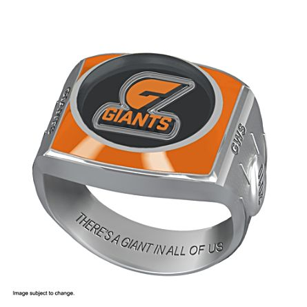 AFL Greater Western Sydney Giants Team Ring With Vibrant Team Logos and Sculpted AFL Motifs