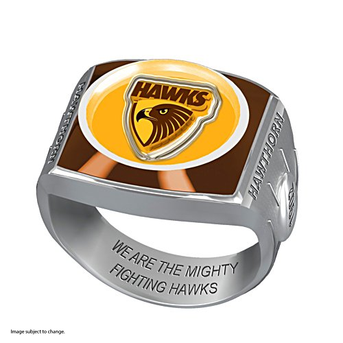 AFL Hawthorn Hawks Team Ring With Vibrant Team Logos and Sculpted AFL Motifs