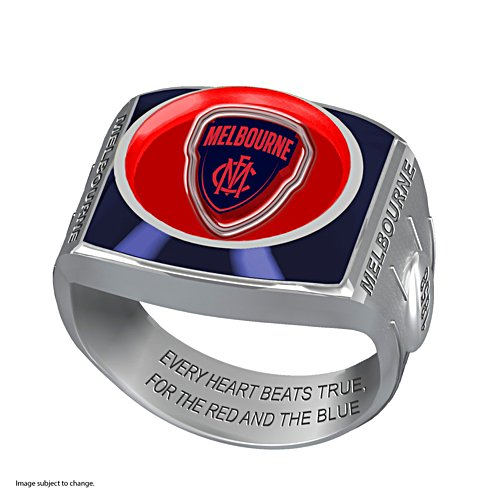 AFL Melbourne Demons Team Ring With Vibrant Team Logos and Sculpted AFL Motifs