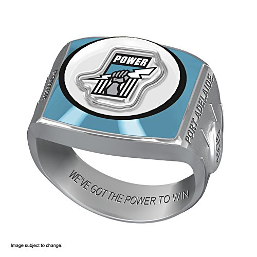 AFL Port Adelaide Power Team Ring With Vibrant Team Logos and Sculpted AFL Motifs