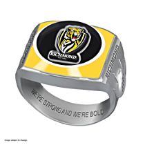AFL Richmond Tigers Team Ring With Vibrant Team Logos and Sculpted AFL Motifs