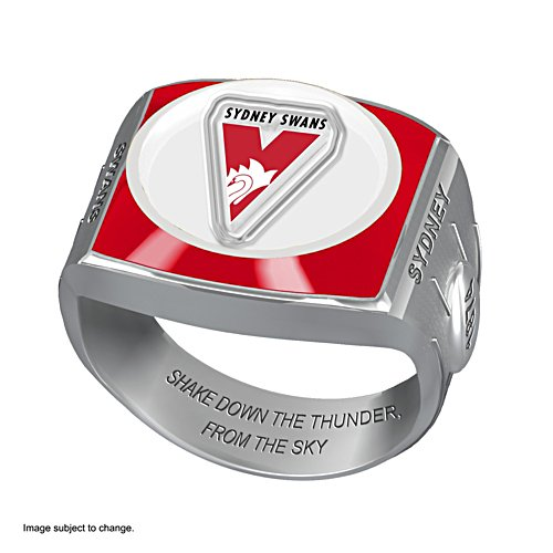 AFL Sydney Swans Team Ring With Vibrant Team Logos and Sculpted AFL Motifs