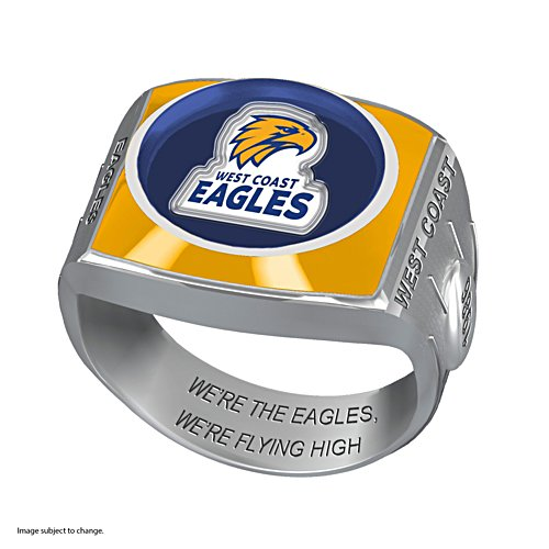 AFL West Coast Eagles Team Ring With Vibrant Team Logos and Sculpted AFL Motifs