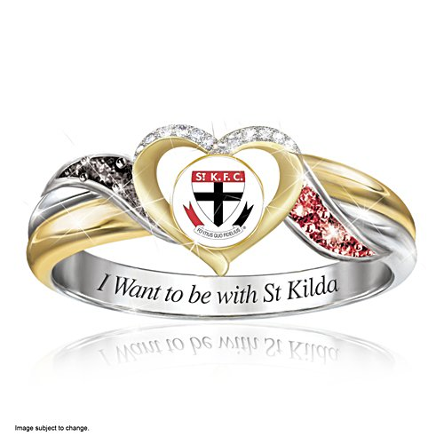 AFL St Kilda Saints Women's Team Ring With Team-Colour Diamonesk® Simulated Gems