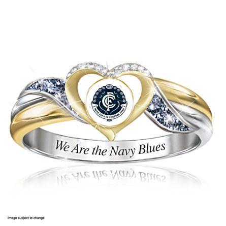 AFL Carlton Blues Women's Team Ring With Team-Colour Diamonesk® Simulated Gems