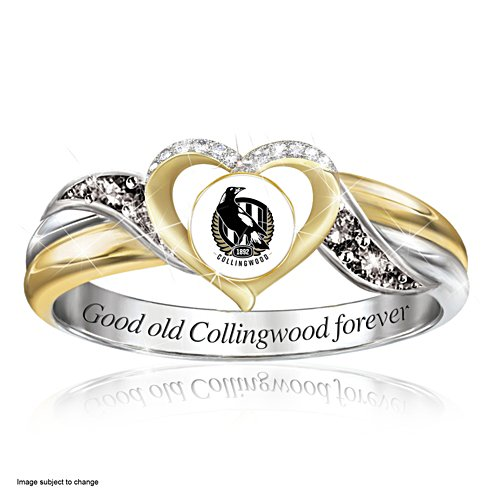 AFL Collingwood Magpies Women's Team Ring With Team-Colour Diamonesk® Simulated Gems