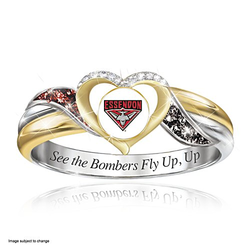 AFL Essendon Bombers Women's Team Ring With Team-Colour Diamonesk® Simulated Gems