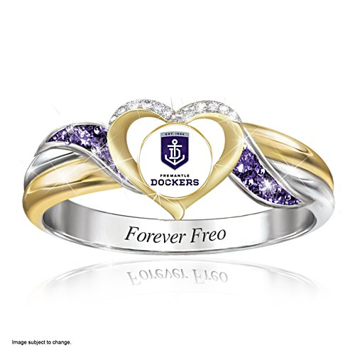AFL Fremantle Dockers Women's Team Ring With Team-Colour Diamonesk® Simulated Gems