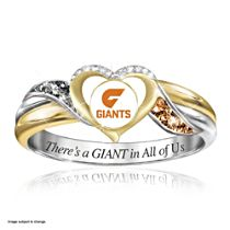 AFL Greater Western Sydney Giants Team Ring With Team-Colour Diamonesk® simulated gems