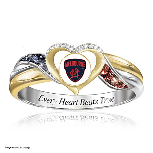AFL Melbourne Demons Team Ring With Team-Colour Diamonesk® simulated gems