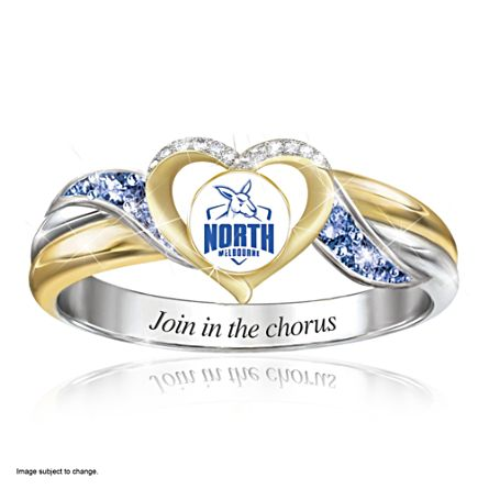 AFL North Melbourne Football Club Women's Team Ring With Team-Colour Diamonesk® Simulated Gems