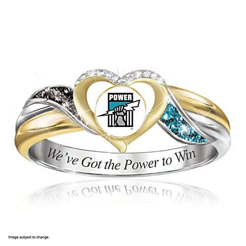AFL Port Adelaide Power Women's Team Ring With Team-Colour Diamonesk® Simulated Gems