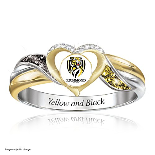 AFL Richmond Tigers Women's Team Ring With Team-Colour Diamonesk® Simulated Gems