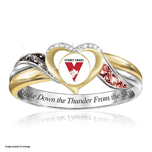 AFL Sydney Swans Women's Team Ring With Team-Colour Diamonesk® Simulated Gems