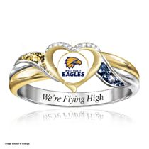 AFL West Coast Eagles Women's Team Ring With Team-Colour Diamonesk® Simulated Gems