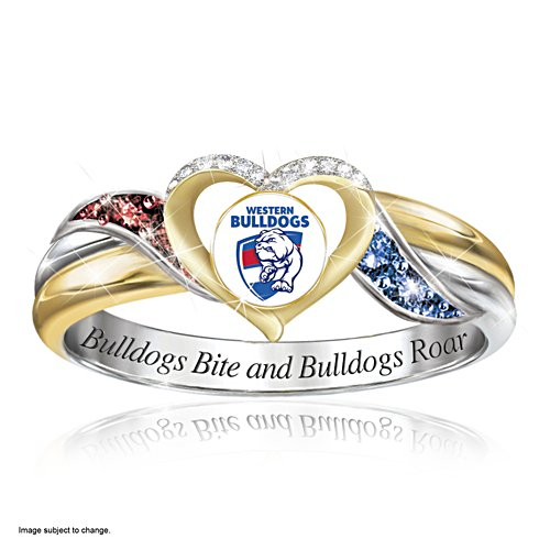 AFL Western Bulldogs Women's Team Ring With Team-Colour Diamonesk® Simulated Gems