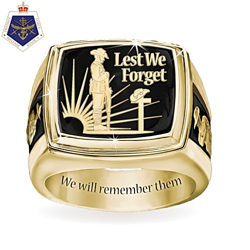 Australia and New Zealand Lest We Forget Men's Ring