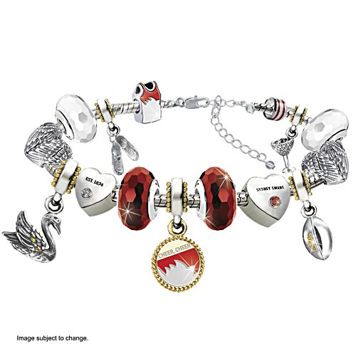 AFL Swans Charm Bracelet with Hanging Charms