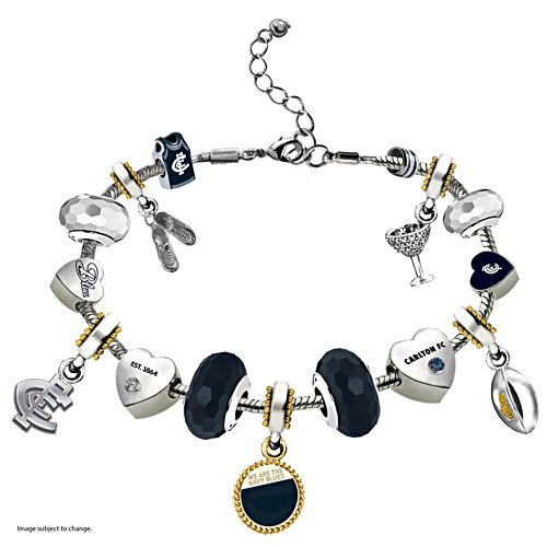 AFL Blues Charm Bracelet With Swarovski Crystals