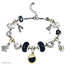 AFL Carlton Blues Women's Charm Bracelet With Swarovski Crystals