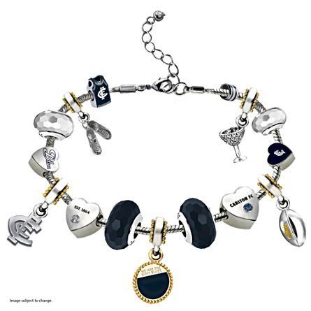 AFL Carlton Blues Women's Charm Bracelet With Swarovski Crystals
