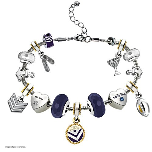 AFL Dockers Charm Bracelet with Hanging Charms