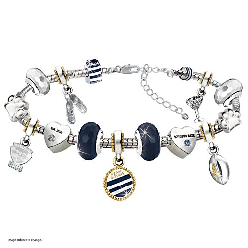 AFL Cats Charm Bracelet With Swarovski Crystals