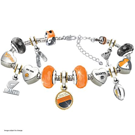 AFL Greater Western Sydney Giants Women's Charm Bracelet With Swarovski Crystals