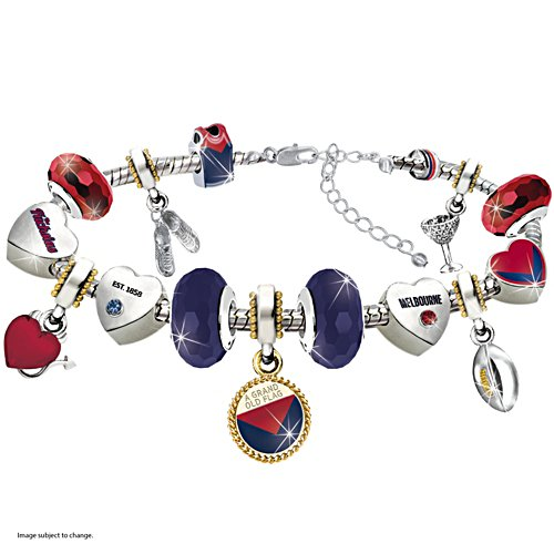 AFL Demons Charm Bracelet With Swarovski Crystals