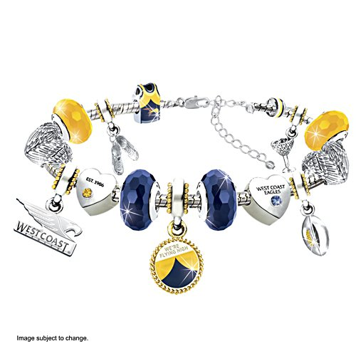 AFL Eagles Charm Bracelet with Hanging Charms