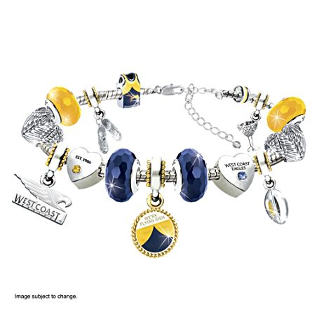AFL Eagles Charm Bracelet With Swarovski Crystals