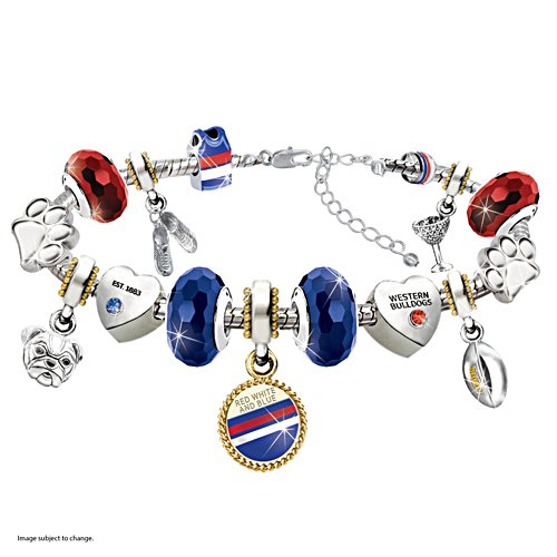 AFL Bulldogs Bracelet With Swarovski Crystals