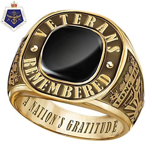 Veterans Remembered Men's Gold Ring