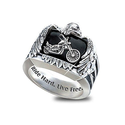 Ride Hard, Live Free Motorcycle Men's Ring with Black Onyx