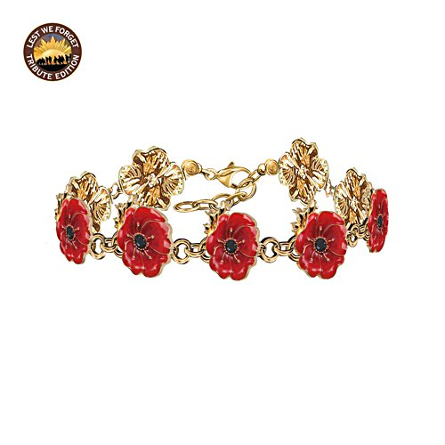 Flanders Fields Bracelet with Enamel Poppy Blooms