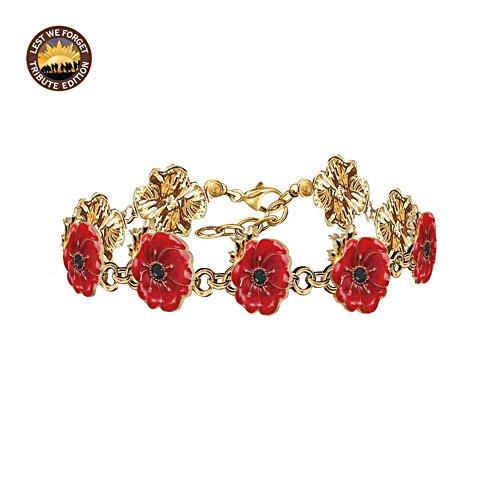 Flanders Fields Bracelet with Enamel Poppy Blooms