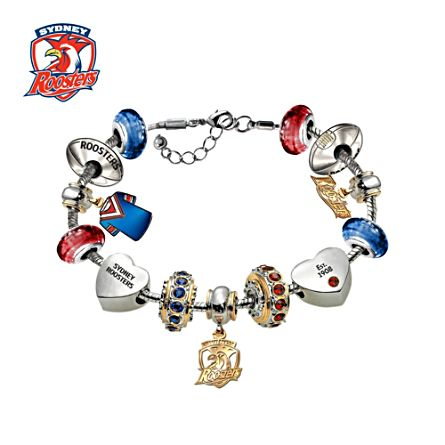 NRL Sydney Roosters Women's Charm Bracelet with Swarovski Crystals