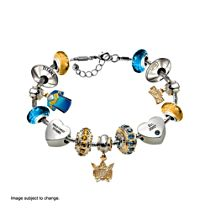 NRL Gold Coast Titans Women's Charm Bracelet with Swarovski Crystals