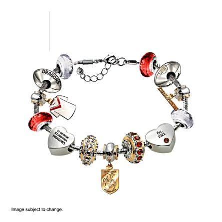 NRL St. George Illawarra Dragons Women's Charm Bracelet with Swarovski Crystals