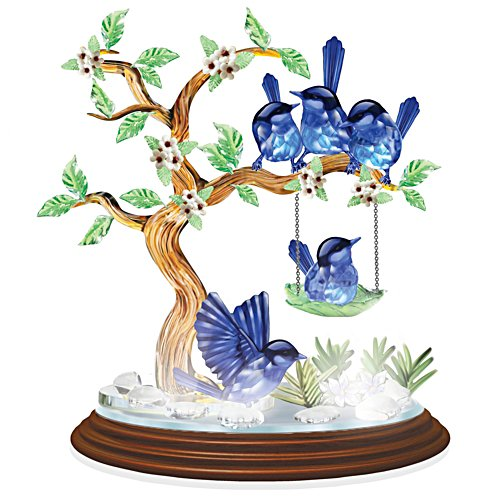 Sparkling Crystalline Fairy Wren Enchantment Figurine