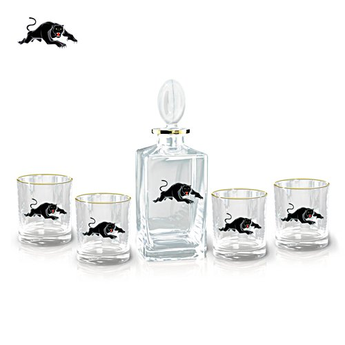 NRL Penrith Panthers Five-Piece Decanter and Glasses Set