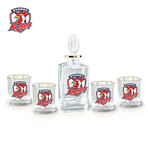 NRL Sydney Roosters  Five-Piece Decanter and Glasses Set