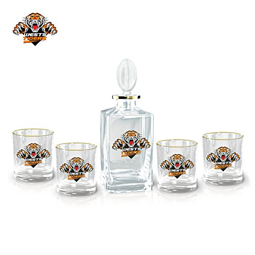 NRL Wests Tigers Five-Piece Decanter and Glasses Set
